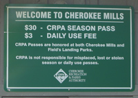 The Cherokee Mills entry sign