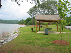a view of a picnic pavilion at the edge of Lake Allatoona