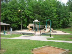 the playground playscape at Field's Landing park in Canton